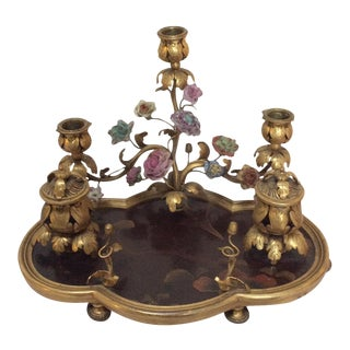 French Lacquer & Bronze Encrier Inkwell For Sale