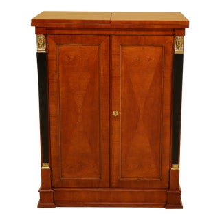 Baker French Empire Cherry Flip Top Bar Cabinet For Sale