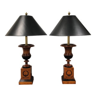 Baker Wood Urn Table Lamps - a Pair For Sale