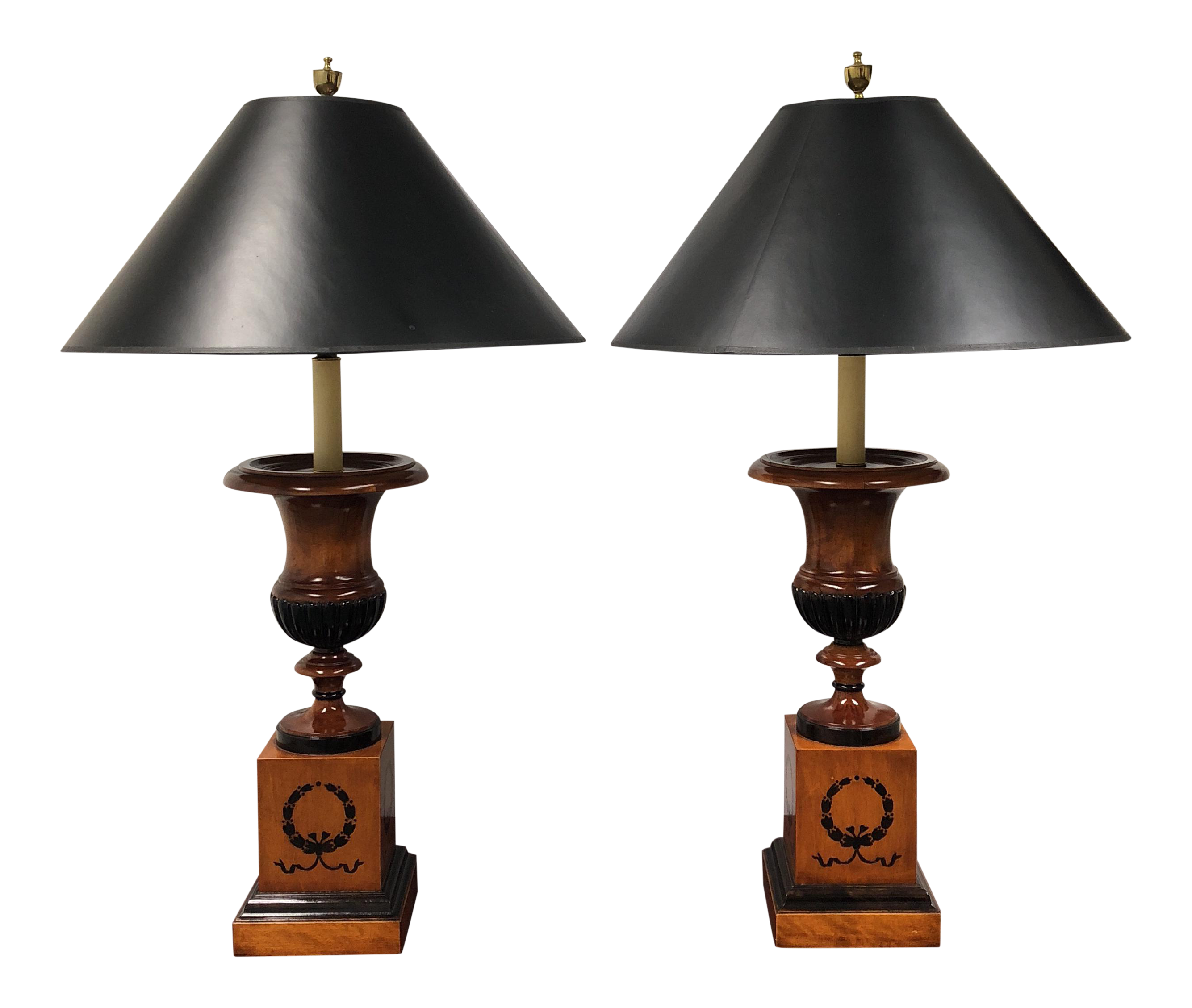 Baker Wood Urn Table Lamps   A Pair