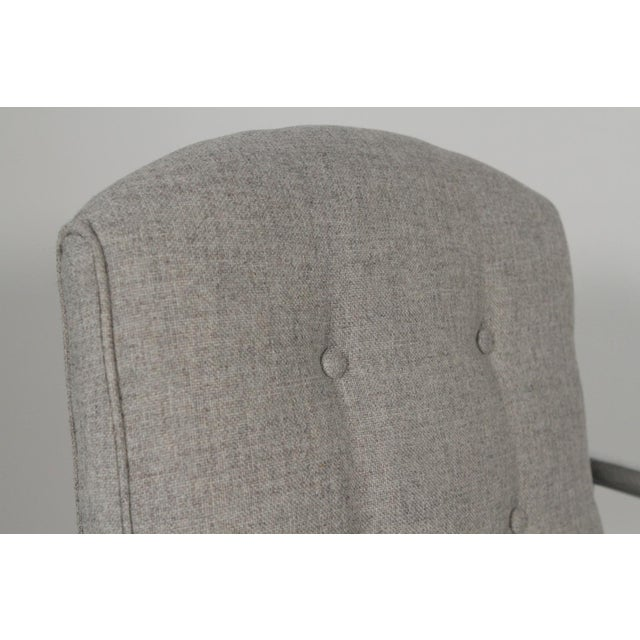 1970s 1970s Mid-Century Modern Grey Linen Chrome Tube Armchairs - a Pair For Sale - Image 5 of 10