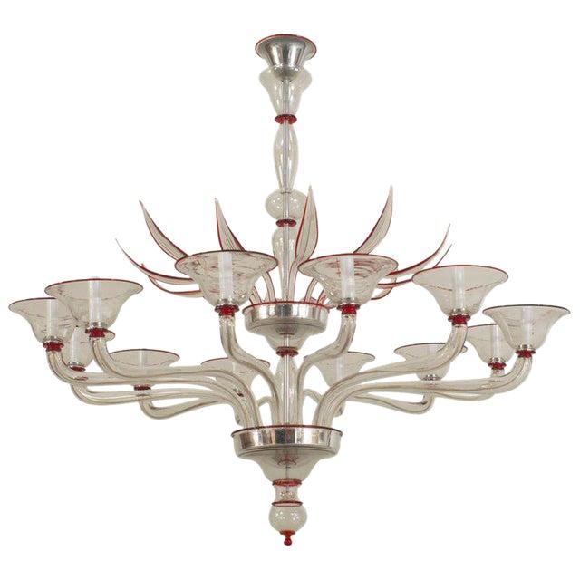 1940s Style Italian Venetian Murano Modern Clear Glass & Red Trimmed Chandelier For Sale