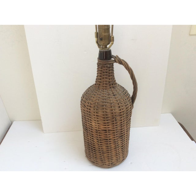 Woven Wicker Encased Wine Jug Lamp For Sale - Image 5 of 6