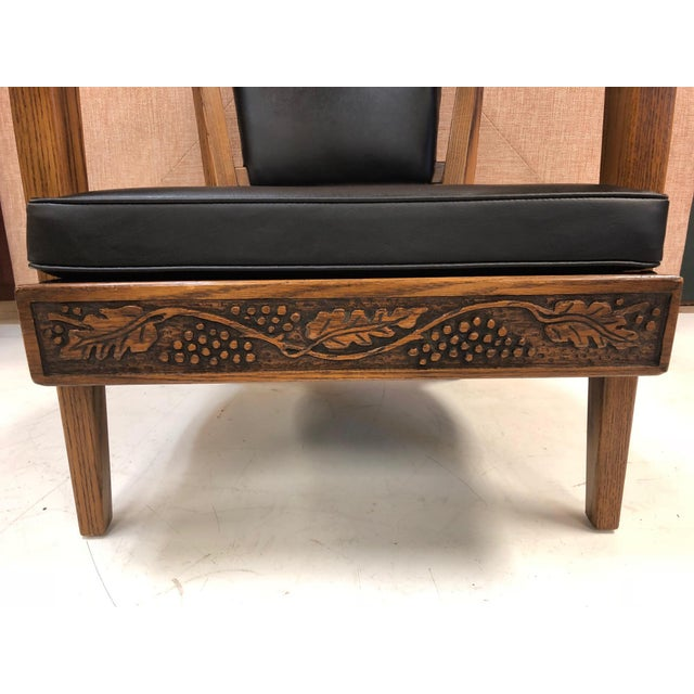 1950s Pair of Romweber Carved Oak Lounge Chairs For Sale - Image 5 of 8