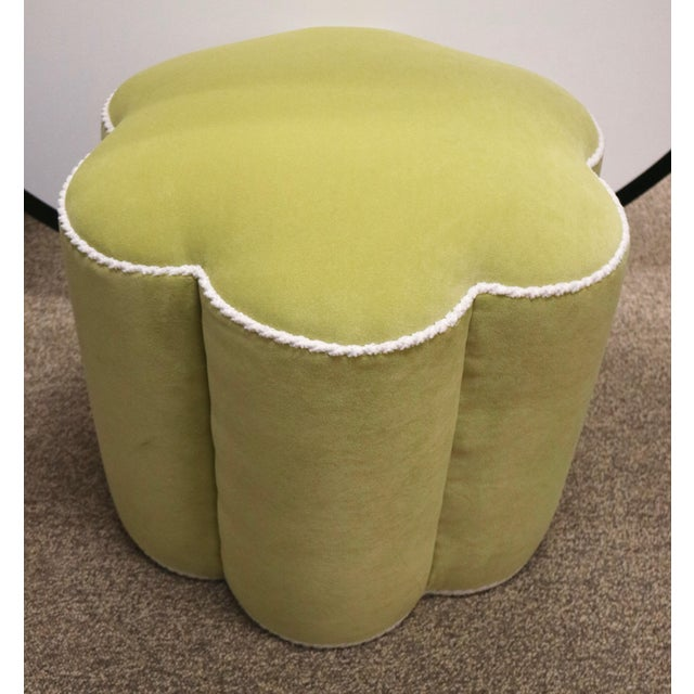 Chartreuse Custom Ottoman's, a Pair - Image 4 of 9