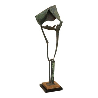 1960's Vintage Brutal Style Metal Standing Sculpture For Sale