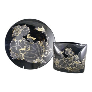 "Rosenthal Bjorn Wiinblad Black ""1001 Nights"" Charger Plate & Pillow Vase"