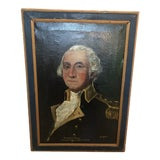 Image of 1940s Portrait of George Washington Oil Painting, Framed For Sale