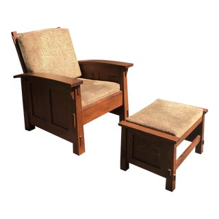 Mission Style Solid Quartersawn Oak Arm Chair & Ottoman For Sale