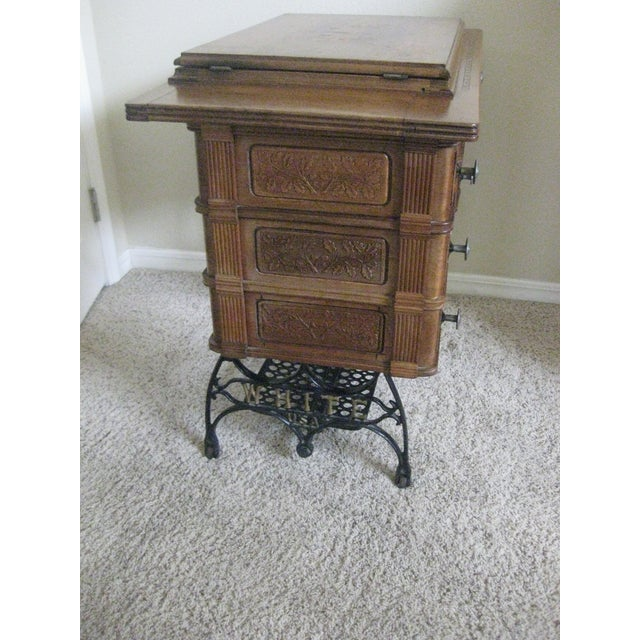Early 21st Century Cabinet With Original Sewing Machine For Sale - Image 5 of 10