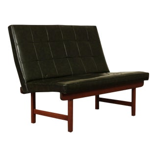 Jens Risom Mid Century Modern Walnut Armless Settee, Loveseat For Sale