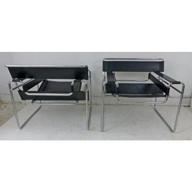 Marcel Breuer Black Leather Chrome Wassily Chairs - A Pair - Image 9 of 10