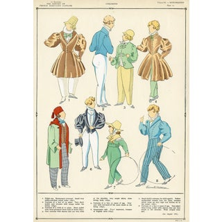 French Children's Fashions, Pochoir Print For Sale