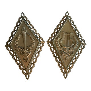 Homco Neoclassical Mid Century Gold Wall Hangings - a Pair For Sale
