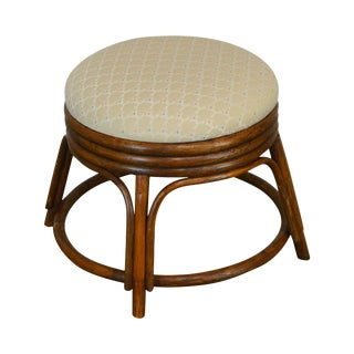 1990s Ficks Reed Round Rattan Stool / Ottoman For Sale