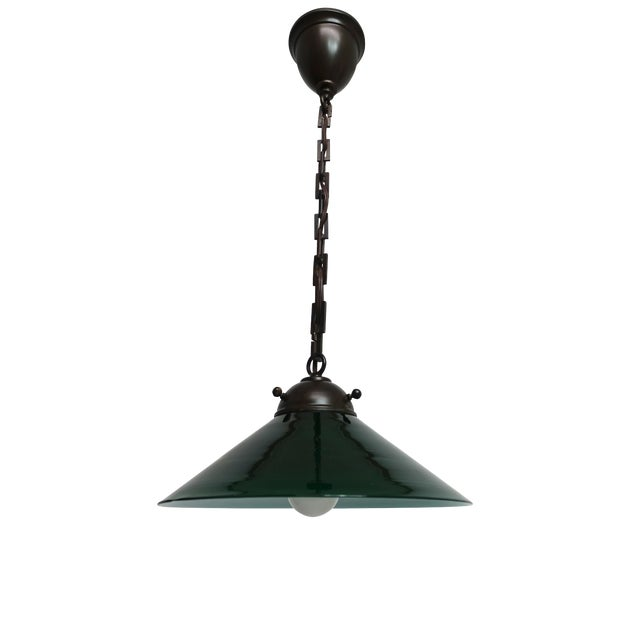 Antique Emeralite Green Encased Glass Pendant Light Fixture For Sale