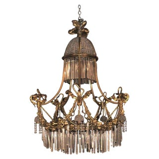 Louis XVI Style Russian Neoclassical Doré Bronze and Crystal Chandelier For Sale
