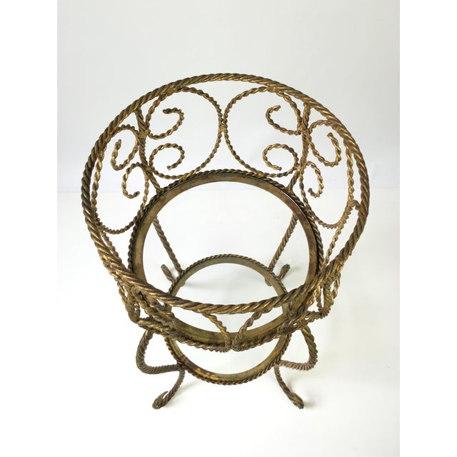 Hollywood Regency Gilt Metal Rope 2 Tier Plant Stand For Sale In Buffalo - Image 6 of 7