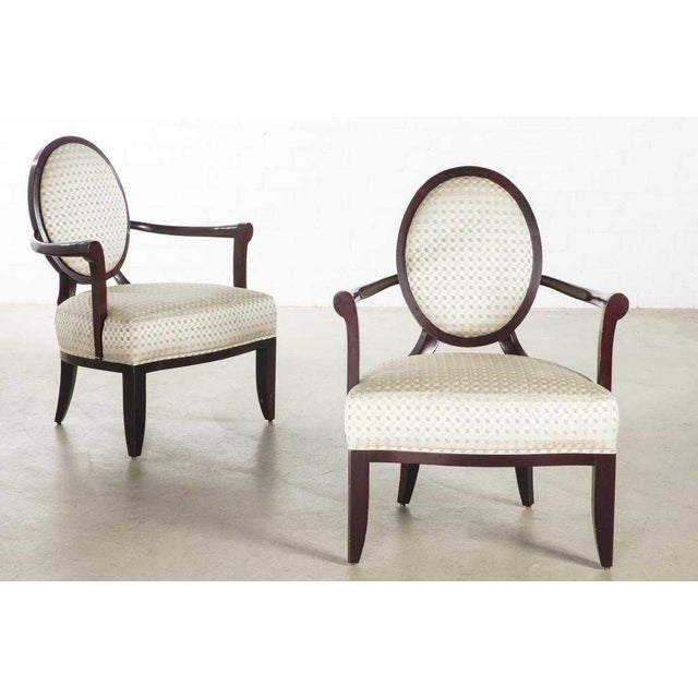Art Deco Pair of Signed Baker Furniture Company Armchairs by Barbara Barry For Sale - Image 3 of 3