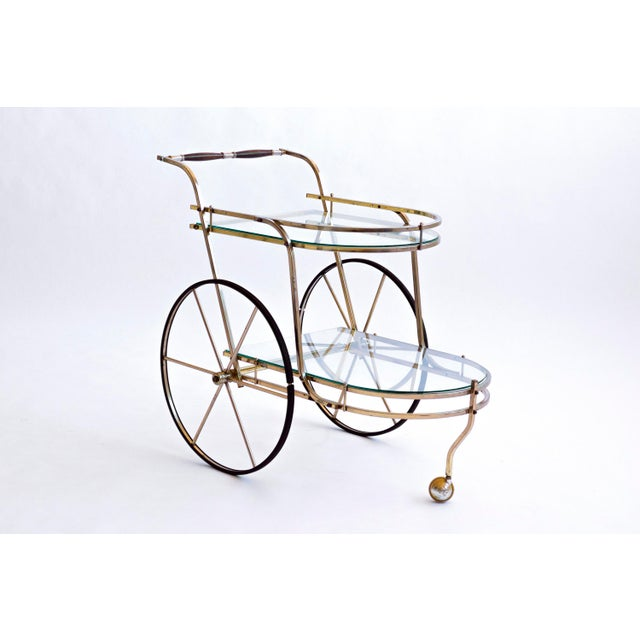 Italian Brass Bar Cart - Image 4 of 7