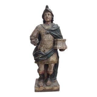 17th Century Antique Carved Roman Soldier Statue For Sale