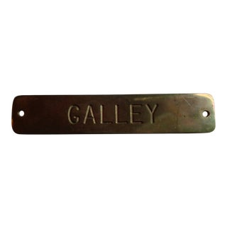 Vintage Lowell Sigmund Brass Nautical Sign, 'Galley' For Sale