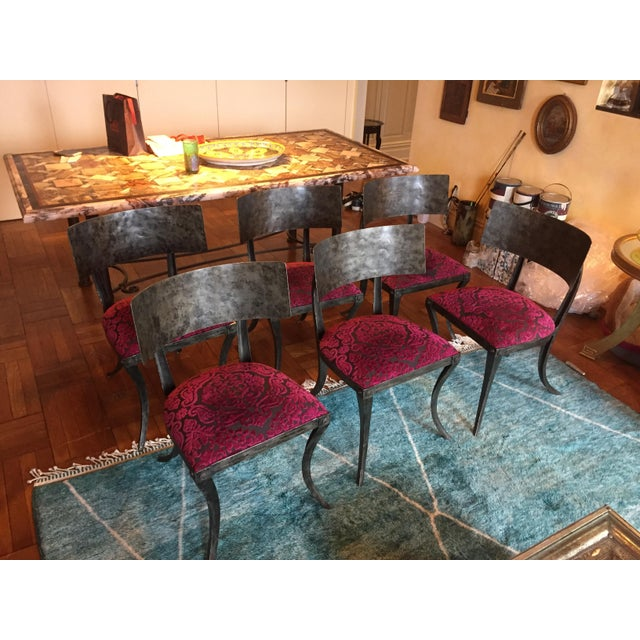 Stunning Klismos style hand-forged iron chairs designed by Ched Berenguer-Topacio. I purchased these chairs new in 2001...