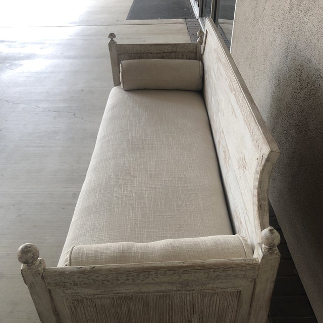 Wood Vintage Gustavian Newly Upholstered Daybed For Sale - Image 7 of 13