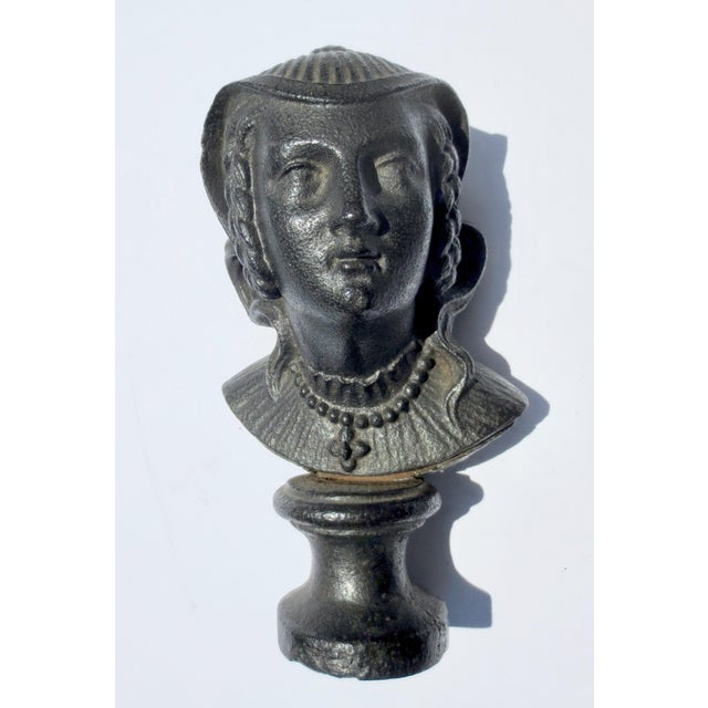 1900 - 1909 Early 20th Century Antique Cast Iron Mary Queen of Scotts Bust For Sale - Image 5 of 5