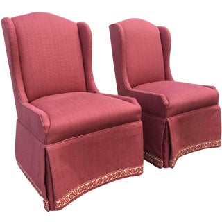 Vintage Pink Basketweave Wool Wingback Slipper Chairs - a Pair For Sale