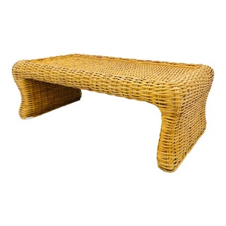 Vintage Natural Woven Wicker Coffee Table For Sale