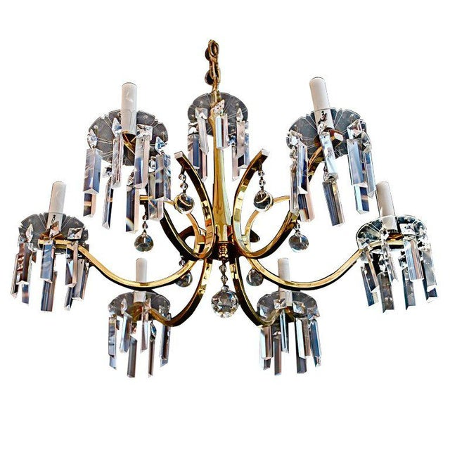 Tommi Parzinger Brass Crystal Chandelier in the Style of Tommi Parzinger For Sale - Image 4 of 4