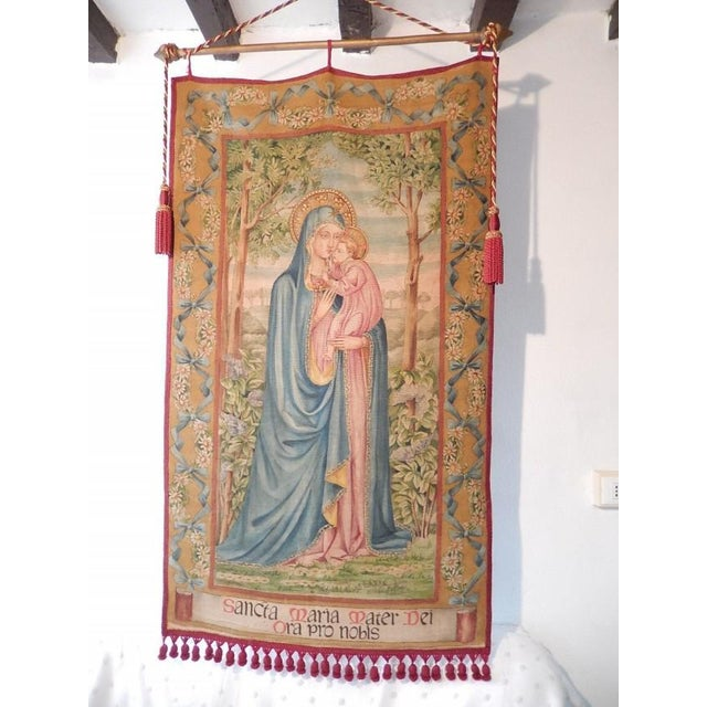 19th Century Huge Italian Religious Banner Hand-Painted For Sale - Image 11 of 11