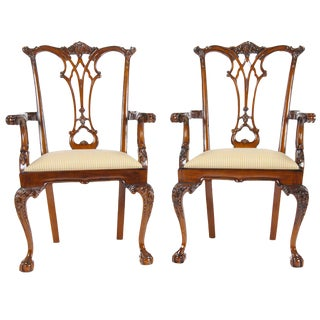 Gothic Mahogany Chippendale Arm Chair - a Pair For Sale