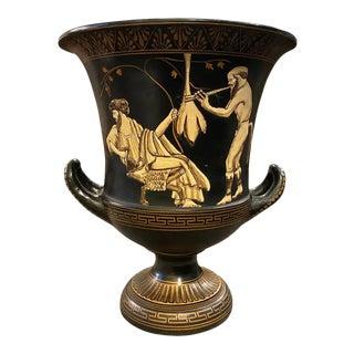 1950s Greek Vintage Handcrafted Black and Gold Terracotta Crater Vase For Sale