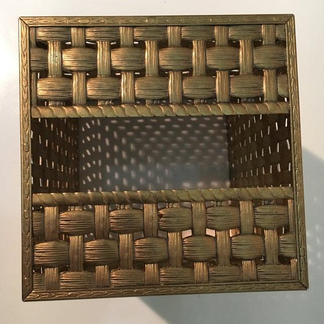 Vintage Brass Weave Tissue Box Holder For Sale - Image 4 of 6