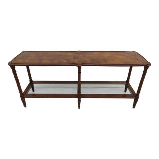 Burl Wood Top Sofa Table with Lower Glass Shelf