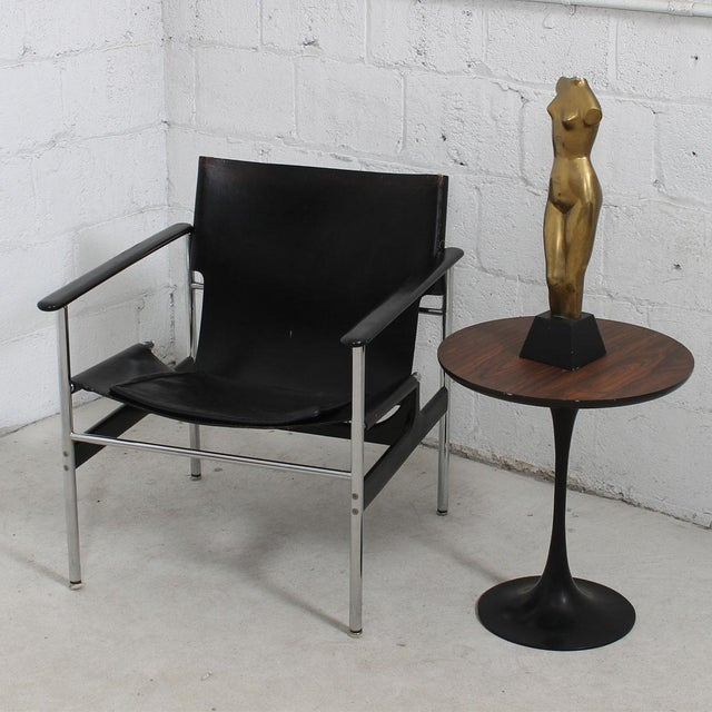 Silver Leather & Chrome Sling Chair, #657, by Charles Pollack for Knoll For Sale - Image 8 of 10