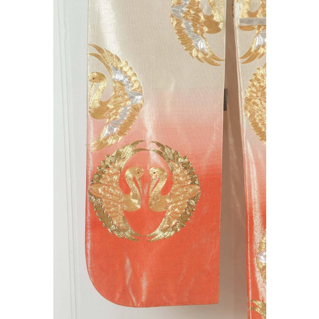 Gold Japanese Ceremonial Kimono Framed in a Lucite Box For Sale - Image 7 of 10
