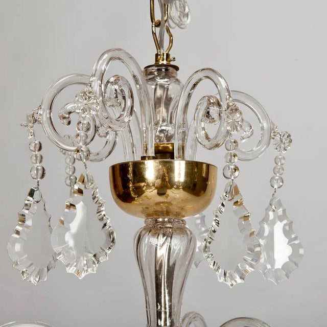 French Tiered All Crystal Six Light Chandelier c.1920 - Image 4 of 9