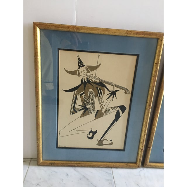Carnival Hollywood Regency Harlequin/Jesters Signed Drawings - a Pair For Sale - Image 3 of 7