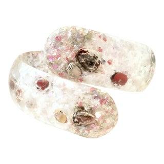 Mid-20th Century Lucite & Shell Confetti Clamper Bracelet For Sale