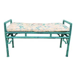 Vintage Faux Bamboo Metal Bench With Cushion