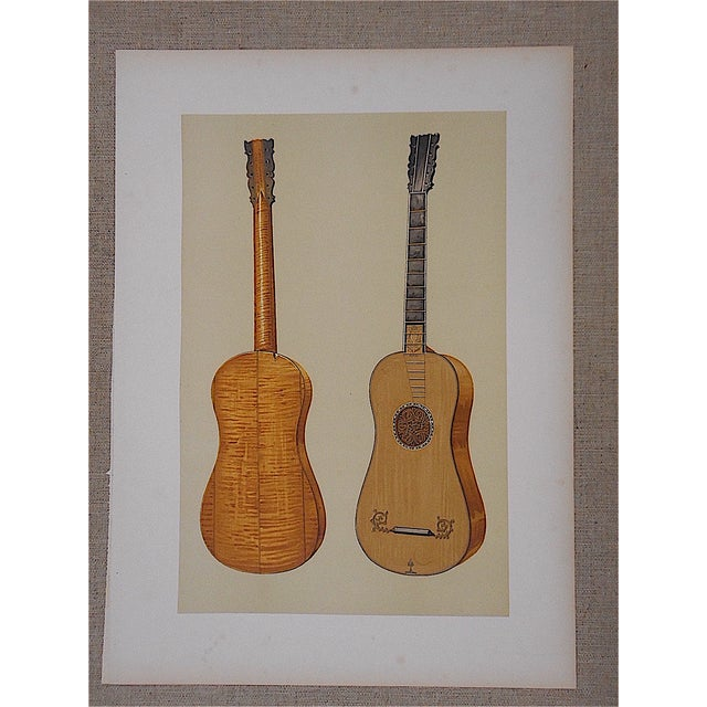 Antique Lithograph of Musical Instruments, Guitar - Image 2 of 4