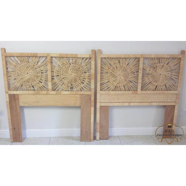 Woven Rattan Twin Headboards - A Pair - Image 5 of 9