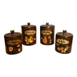 Treasure Treasure Craft Ceramic Kitchen Canisters- Set of 4 For Sale