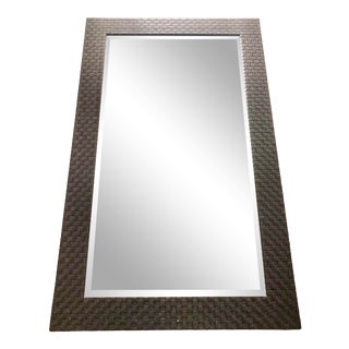 Contemporary Leather Woven Mirror For Sale