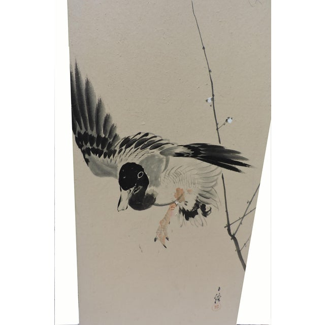 Pair of Hand Painted Japanese Panel Screens With Birds and Flowers For Sale - Image 4 of 13
