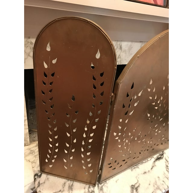 Vintage Mid-Century Modern Metal Arched Gold Fireplace Screen For Sale - Image 4 of 7