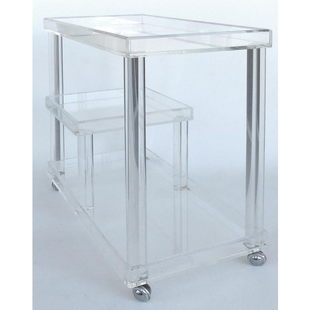 Mid-Century Modern Rolling Lucite Bar Cart W/ 3 Levels of Storage For Sale - Image 3 of 12